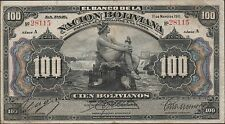 Bolivia 100 Bolivianos  11.5.1911 P 111a  Series A   Rare Circulated Banknote