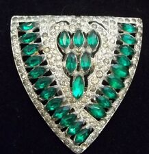 Vintage Clear Emerald Rhinestone Fur Clip /Dress Brooch AMAZING SIGNED
