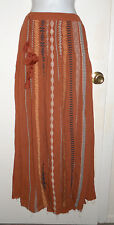 FP One Free People Kathna Skirt embroidered terracotta clay maxi tassels XS