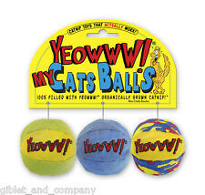 YEOWWW! MY CATS BALLS 3 Piece Pack Super Potent Organic Catnip Filled Cat Toys