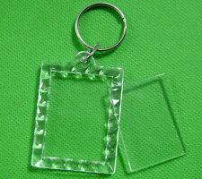 20x Transparent Blank Insert Photo Picture Frame Keyring Split Ring keychain