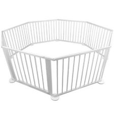 Baby Kids Deluxe Adjustable 8 Sides Natural Wooden Playpen Safety Gate White