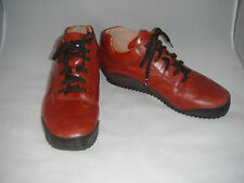Santoni Club Italy Men 9 Red Leather Oxford Lace Up Casual Sneaker Shoes