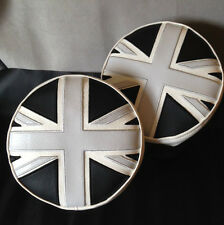 Monochrome Union Jack Spot Lamp, Driving Lamp Covers, Black & White Mini Cooper