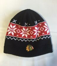 Chicago Blackhawks Knit Beanie Toque Winter Hat Skull Cap Women's New snowflake
