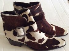 MATISSE SHADED PONY HAIR COW PRINT POINTED TOE SIDE ZIP ANKLE BOOTS SHOES BRAZIL