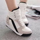US Womens Sneakers Sports Comfort Rivet Hidden Wedge Heel High Top Soft Shoes