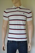 NEW Ralph Lauren Classic Custom Fit White Navy Blue Stripe Polo Shirt M RRP $75