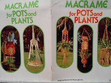 Macrame patterns: shelves, lots of OWLS and plant hangers,   Vtg - see pics