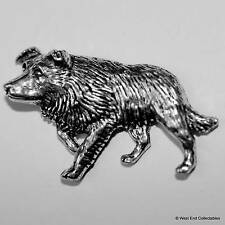 Border Collie Dog Pewter Pin Brooch -British Hand Crafted- Sheep Gift Present
