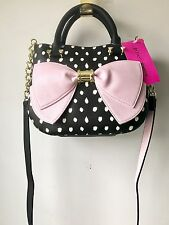 NWT Betsey Johnson Medium Satchel Bag Half Moon Spot BM19340