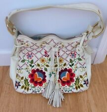 Isabella Fiore Bohemian Bloom White Leather Embroidered Bag Handbag Purse Italy