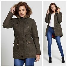 LADIES JACKET WOMENS PARKA COAT BRAVE SOUL FUR HOODED MILITARY FISH TAIL WINTER