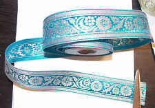 40mm turquoise silver jacquard embroidered ribbon applique motif trimming decor