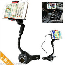 3in1 Smartphone Holder mount Dual USB Charger Port + Cigarette Lighter Power