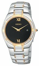 SEIKO DRESS DATE BLACK DIAL DIAMONDS TWO-TONE ST.STEEL MEN'S WATCH SKP338 NEW