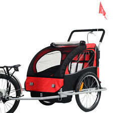 New 2 in 1 Bicycle Carrier Double Infant Child Baby Bike Trailer Jogger Str