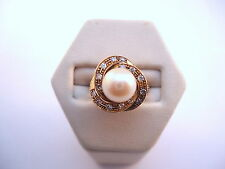 BELLE BAGUE EN OR 18K PERLE ET DIAMANTS or 18 carats
