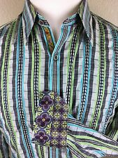 Robert Graham Embroidered Men's L/S Blue Green Striped Shirt Medium Flip Cuff M