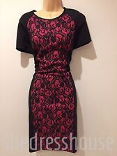 BNWT Black Pink SAVOIR Bonded Lace Panel Cap Sleeve pencil wiggle Dress Size 12