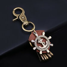Vintage Alloy Genuine Leather Unisex Fashion Anchor Pendant Key Rings Key Chain