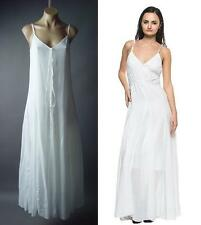 White Cotton Peasant Boho Strappy Chemise Trapeze Slip Long Maxi 92 ac Dress S
