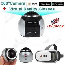 Sliver 360° WiFi Panoramic Camera 4K 16MP 3D Sports Camcorder DVR +VR GLASSES