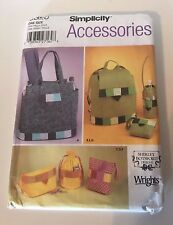 Simplicity  Bag Back Pack Bottle Bag Accessories Sewing Craft Pattern