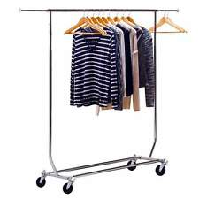 "Commercial Grade Single Rail Rolling Salesman's Collapsible Garment 65"" Rack US"