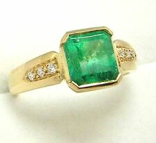 Colombian Emerald Engagement Ring 1.62 TCW 18K Gold Ring Size 7.5 Fine Jewelry