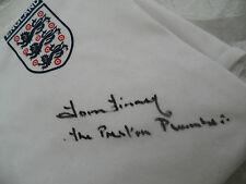 """Sir Tom Finney SIGNED """"The Preston Plumber"""" England shirt, jersey - from AFTAL"""