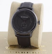 New 100% Auth Burberry BU10003 Men's The Classic Round Black Dial Leather Watch