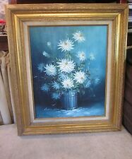 "28"" x 24"" Vintage Framed Robert Cox Canvas Oil Painting White Flowers Floral"