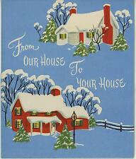 VINTAGE CHRISTMAS OUR HOUSE TO YOURS RED WHITE YELLOW COLONIAL HOUSES CARD PRINT