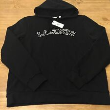 NWT Mens XXL Authentic Lacoste Fleece Logo Pullover Hoodie Black 7 2XL