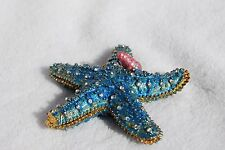 SWAROVSKI CRYSTAL BEJEWELED ENAMEL HINGED TRINKET BOX - BLUE STARFISH