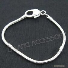 1pcs Silver Plated Heart Copper Snake Chain Bracelet 20cm Fit European Charms L