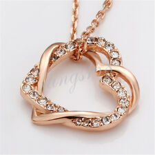 18k Rose Gold Filled Shiny Crystal Love Heart Pendant + Chain Necklace Set H030