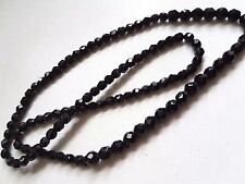 Vintage Art Deco French Jet Faceted Glass Bead Necklace