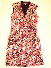 Donna Ricco Pink Purple Blossom Flower Burst V neck ruched Pleated dress