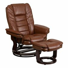 Recliner Chair With Ottoman Rocker Leather Swivel Wood Base Brown Contemporary