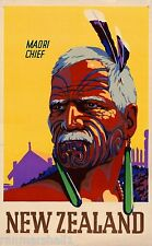 Fascinating New Zealand Maori Chief Vintage Travel Advertisement Art Poster
