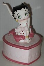 "1995 Ceramic Betty Boop Heart-Shaped Cake Music Box 7"" - Over-Wound"