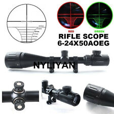6-24x50AOEG Red Green Dual illuminated Optical Rifle Scope &2 Rings Mount Hunt