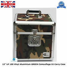 """2 X NEO Aluminum GREEN Camouflage DJ Carry Case for 100 Vinyl LP 12"""" Records HQ"""