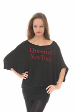 "e.vil Batwing Dress with Crystals ""Queen of New York"" Black Size S"