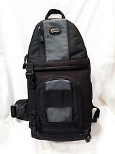 LOWEPRO SLINGSHOT 202 AW DSLR BLACK CAMERA SHOULDER BAG; RAIN COVER, PARTITIONS