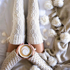 Women Cable Knitted Long Boot Socks Over Knee Thigh High Stocking White