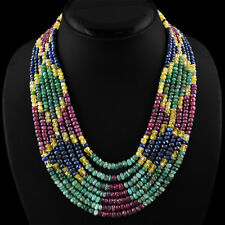 855.00 CTS NATURAL ROUND CUT 7 STRAND SAPPHIRE, RUBY & EMERALD BEADS NECKLACE