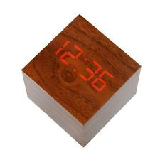 Wooden Cube LED Alarm Voice Control Digital Desk Clock Room Temperature Decor